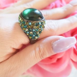 18k gold plated statement green ring